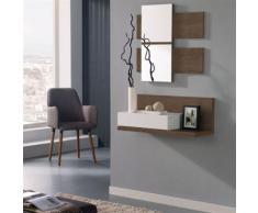 Meuble d'entrée Blanc/Chêne foncé + miroir - LISIA - Commodes