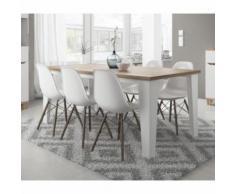 Table LIER couleur blanc et bois style scandinave - Tables salle à manger