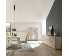 Séjour couleur chêne enfilade 4 portes et table 180 ELMA 3 - L 180 x P 90 x H 79 cm - Tables salle à manger
