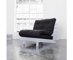 Pack matelas futon gris anthracite coton structure en bois gris clair 90x200 - Terre de Nuit - Ensembles matelas et sommier