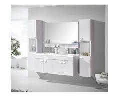 MEUBLE SALLE DE BAIN BLANC Rose clair VASQUE LUXE LAVABO Mod. W. Elegance 120 cm - Installations salles de bain
