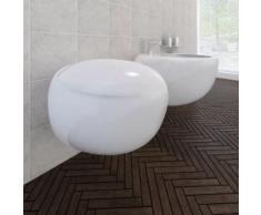 Cuvette WC suspendue et bidet suspendu en céramique Blanc - Robinetterie