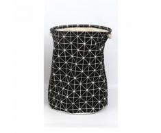 Panier à linge Géométrique - Diam. 38 x H. 42 cm - Noir - Accessoires de bain