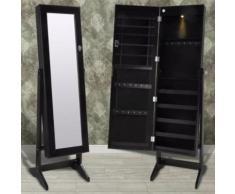 Armoire à bijoux sur pied avec miroir et éclairage LED Noir - Miroir