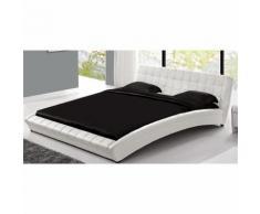 Lit Chelsea - Cadre de lit en simili capitonné Blanc - 140x190cm - Cadre de lit