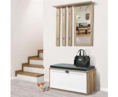 Vestiaire d'entrée luxe en bois blanc et hêtre meuble chaussures - Vestiaires