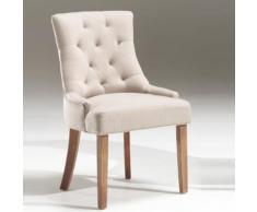 Chaise capitonnée en tissu sable, taupe ou gris AUDELINE - Chaise