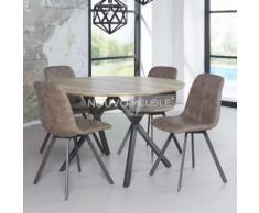 Table à manger ronde couleur bois NINE - L 120 x P 120 x H 76 cm - Tables salle à manger