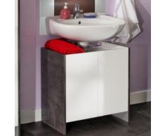 Meuble sous-lavabo 2 portes effet béton façades blanches - Meubles de salle de bain