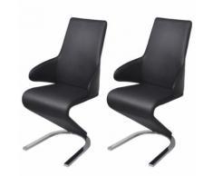 Meelady 2 pcs Chaise de Salon Cantilever en Cuir Artificiel 58 x 66 x 99cm Noir - Chaise