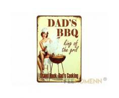 Plaque Métal Déco Vintage - BARBECUE - Dad' BBQ King of the Gril (20x30cm) - Décoration murale