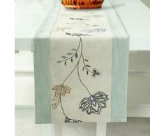 Chemin de table à motif floral en polyester et coton - linge de table et décoration