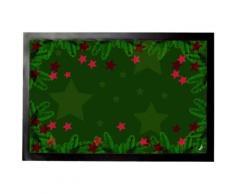 Noël Paillasson Essuie-Pieds - Brindilles De Sapin Vertes Et Étoiles Rouges (40x60 cm) - Tapis et paillasson
