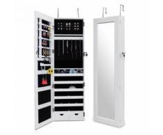 Miroir de Rangment, Armoire à Bijoux avec Miroir, avec tiroirs inférieurs, 120 x 38 x 9 cm, Blanc, Crochet pour porte, Matériau: MDF, Verre - Miroir