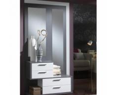 Meuble d'entrée Blanc/Cendre + miroirs - RACHOU - Commodes