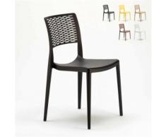 Chaise pour salle à manger Bar et Jardin en Polypropylène Empilable et Légère CROSS, Couleur: Noir - Chaise