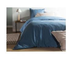 Taie d'oreiller unie lin et coton lavé volant 2 cm HORTENSE 65x65cm bleu - Linge de lit