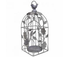 L'Héritier Du Temps - Cage à oiseaux style bougeoir ou volière décorative motifs oiseaux à suspendre en fer patiné gris 13x13x33cm - Objet à poser