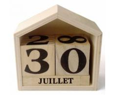 Calendrier perpétuel en bois maisonnette - 7,3 x 8 x 3,4 cm - Objet à poser