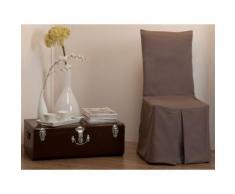 Housse de chaise bachette 100% coton taupe INES - Textile séjour