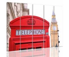 Tableau toile déco multi panneaux 150x100 cm LONDRES ROUGE BLANC - Décoration murale
