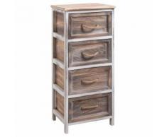 Chiffonnier BELLANO petite commode avec 4 tiroirs, en bois de paulownia blanc et brun style shabby chic vintage rustique campagne - Commodes