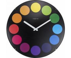 NeXtime NE-3167 Horloge murale Dia. 35 cm, globe terrestre noir, 'Dots Dome' - Décoration murale