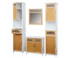 Set salle de bain HWC-A85, 2x armoire haute, 1x meuble sous-vasque, 1x miroir, babou, blanc - Meubles de salle de bain