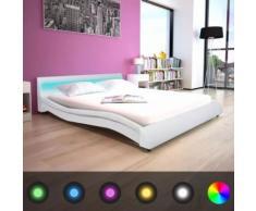 Meelady Cadre de Lit Double Solide avec LED Structure Métallique Blanc 160 x 200 cm - Cadre de lit
