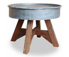 Vislone Table Basse en Bois Design Industriel pour Jardin ou Salon 60 x 45 cm Argenté - Caissons et casiers de bureau