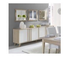 Buffet, enfilade, bahut GM MALMO + 3 miroirs. Meuble design type SCANDINAVE. Effet ultra tendance pour votre salon - Buffets