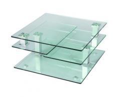 Table basse en verre carrée, L80 x P80 x H42 cm -PEGANE- - Objet à poser