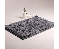 tapis antidérapant moderne en chenille 40 x 60 cm Gris - Accessoires de bain