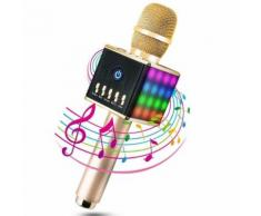 Microphone Sans Fil Karaoké Bluetooth 3.0 Compatible avec Apple/ Android/ PC (LED Lampe Coloré Néon - Or) - Microphone