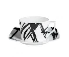 Table Passion - Tasse - Sous/Tasse The 22 Cl Porcelaine Decor Expression Noir ( Lot De 6 ) - Petit-déjeuner