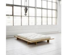 Pack futon coton écru 160x200 structure japan bois miel - Terre de Nuit - Ensembles matelas et sommier
