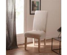 Housse de chaise uni bi-extensible coton/polyester écru - lot de 2 LISA - Textile séjour
