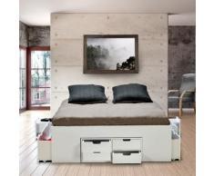 Lit double JAZZ 160x200 7 tiroirs + 2 chevets / Blanc - Cadre de lit