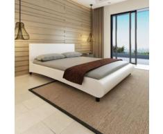 Meelady Lit Double pour 2 Personnes 200 x 160 cm Cuir Artificiel Blanc-A - Cadre de lit