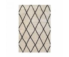 ASMA Tapis de salon Shaggy - Style berbere - Poils longs - 120 x 160 cm - Creme et marron - Tapis et paillasson