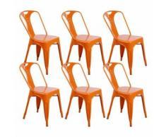 Zons Lot De 6 Chaises Industrielles Retro Empilable Orange 42X47Xh78Cm - Chaise