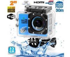 Camera sport wifi étanche caisson waterproof 12 MP Full HD Bleu 32Go - Caméscope à carte mémoire