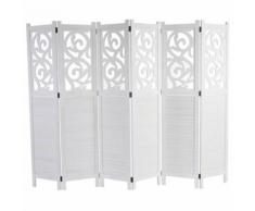 Paravent Istanbul, ornements, blanc, 170x240cm - Objet à poser
