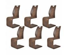 6 Chaises en cantilever avec poignées en PU rembourré en cuir + cadre en acier - Chaise