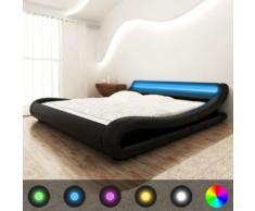 Meelady Lit Double en Cuir Artificiel avec Bande de LED Style Moderne Noir 180 x 200 cm - Cadre de lit