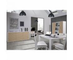 Salle à Manger Complète Blanc/Chêne - JODIE n°1 - Tables salle à manger