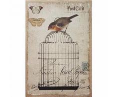 Tableau Déco Toile Imprimée Jute Oiseau Cage - 60x90cm - Décoration murale