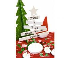 Sapin de Noël Pancartes C'est le Plus beau jour de l'année - 18 x 12 cm - Objet à poser