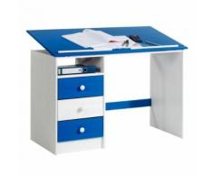 Bureau enfant écolier junior KEVIN pupitre inclinable avec 3 tiroirs 1 casier en pin massif lasuré blanc et bleu - Bureaux