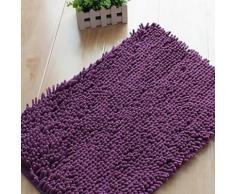 Tapis de bain en chenille à poils longs Violet - Accessoires de bain